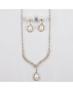 2PC NECKLACE SET RSTONES