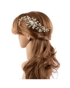 HAIRCOMB PEARL & CLEAR BEADS