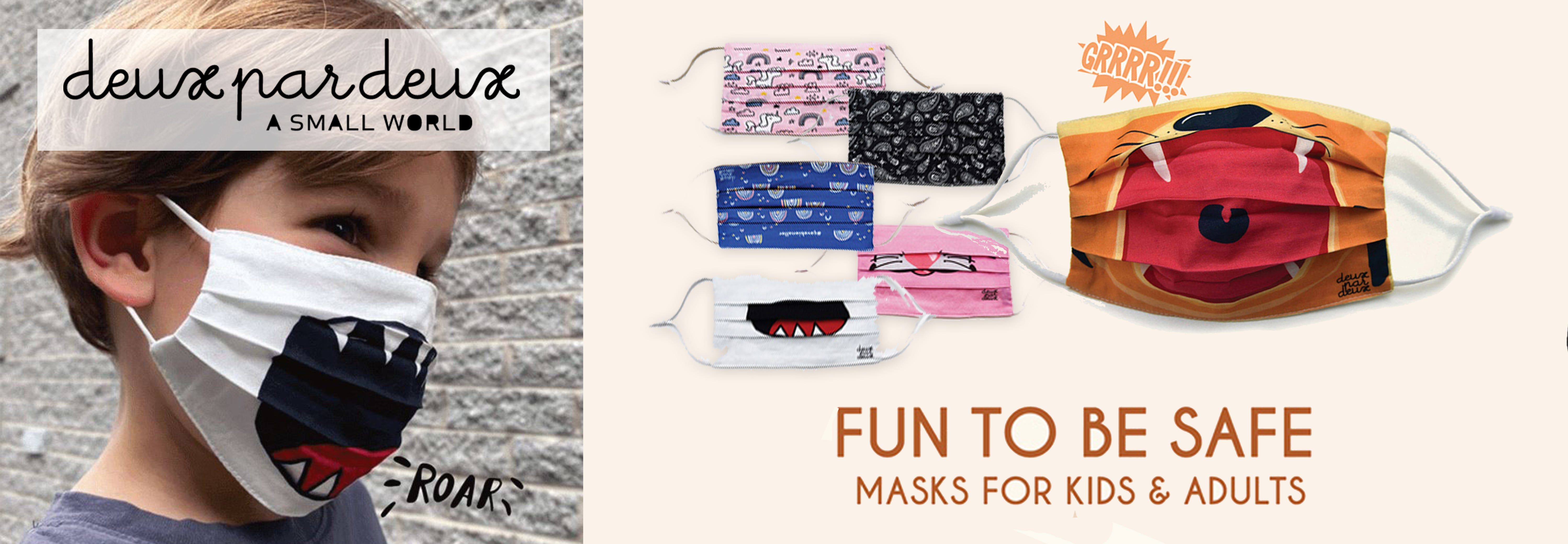 new designer kids masks banner